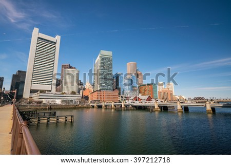 Boston Harbor and Financial District in Massachusetts.