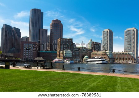 Boston Harbor and Financial District in Massachusetts, USA. - stock photo