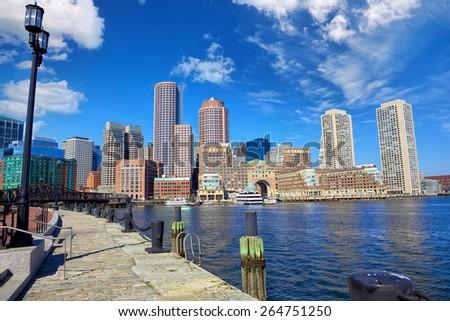 Boston Harbor and Financial District, Massachusetts, United States - stock photo