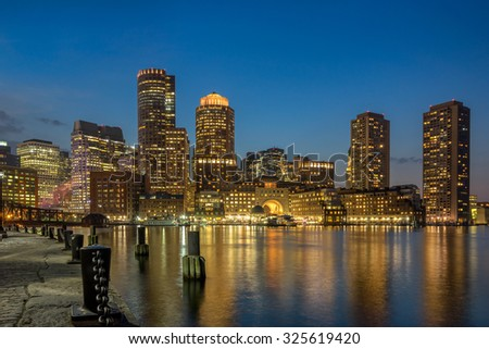Boston Harbor and waterfront - stock photo
