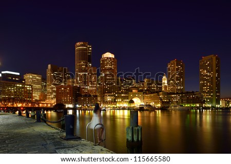 Boston Harbor at Night