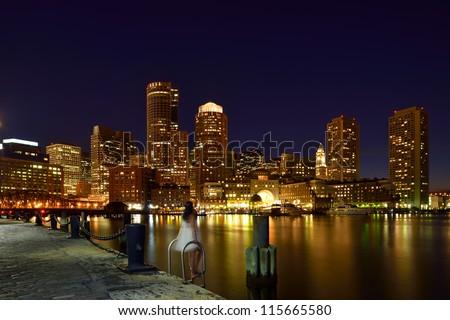 Boston Harbor at Night - stock photo
