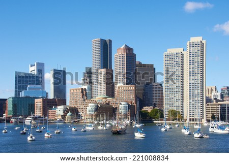 Boston harbor, Massachusetts. - stock photo