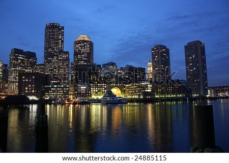 Boston Harbor skyline at dusk