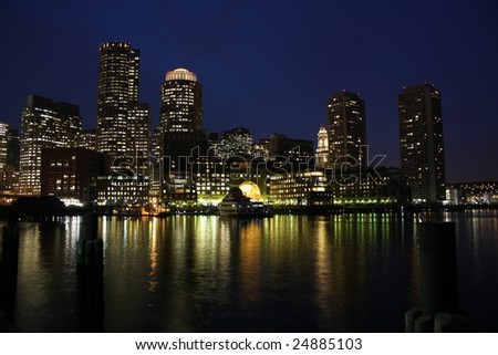 Boston Harbor skyline at night