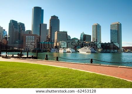 Boston Harbor skyline in the afternoon. Massachusetts - USA. - stock photo