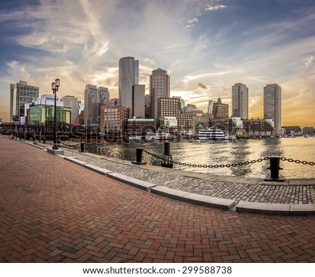 Boston in Massachusetts, USA at sunset at Back Bay on a sunny summer day. - stock photo