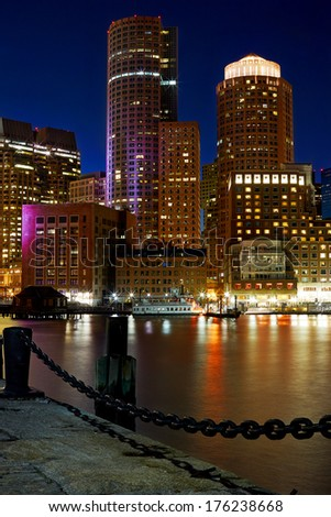 Boston Inner Harbor at night - stock photo