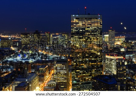Boston John Hancock Tower and Back Bay Skyline at night, from top of Prudential Center, Boston, Massachusetts, USA