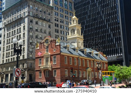BOSTON - JUNE 11: Old State House in downtown on June 11th, 2014 in Boston, Massachusetts, USA. - stock photo