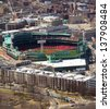 BOSTON, MA - APRIL 21: Aerial view of Fenway Park Stadium in Boston, MA, USA. The Fenway is the Red Sox's home built in 1912 and the oldest baseball stadium still in use in the USA on April 21, 2013. - stock photo