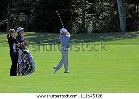 BOSTON, MA - AUGUST 29: JB Holmes at the Deutsche Bank Championship at the TPC Boston golf course on August 29, 2012 in Boston, Massachusetts.
