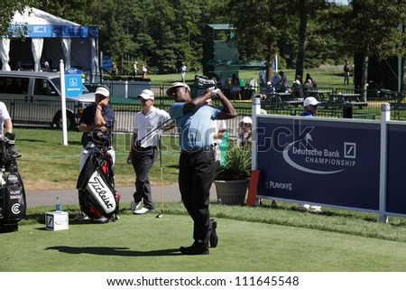 BOSTON, MA - AUGUST 29: Vijay Sing at the Deutsche Bank Championship at the TPC Boston golf course on August 29 , 2012 in Boston, Massachusetts.