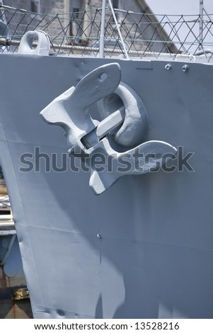Boston, MA 2008:  Detail shots of the USS Cassin Young, a retired US Naval Fletcher-class destroyer.  Focus on the anchor - stock photo