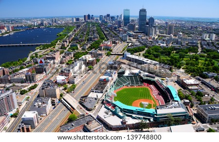 BOSTON, MA - JULY 30: Aerial view of Fenway Park on July 30, 2011 in Boston, Massachusetts. Fenway Park is the home of the Boston Red Sox baseball club since 1912. It can sit less than 40000 spectator - stock photo