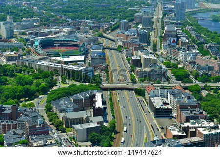 BOSTON, MA - JULY 4: Aerial view of Fenway Park on July 4, 2013 in Boston, Massachusetts. Fenway Park is the home of the Boston Red Sox baseball club since 1912. It can sit less than 40000 spectator - stock photo