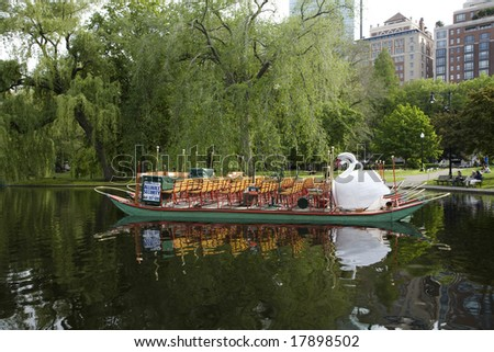 BOSTON, MA - MAY 30:  The famous Swan Boats of the Boston Public Garden taken in May 2008.  The boats date back to 1877.