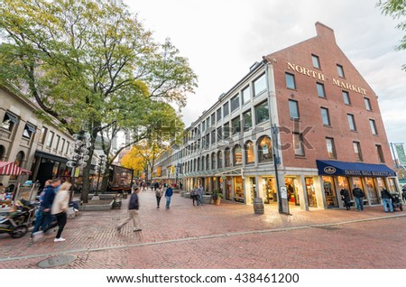 BOSTON, MA - OCT 17: A crowd of tourists and locals at Faneuil Hall, rated number 4 in America's 25 Most Visited Tourist Sites by Forbes Traveler in 2008. As seen on October 17, 2015 in Boston, MA.