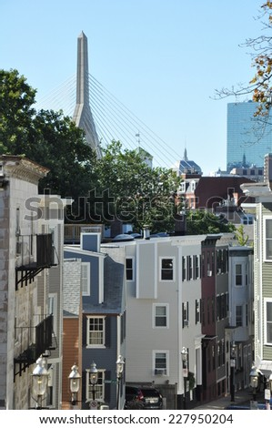 "BOSTON, MA - SEP 14: Streets of Boston in Massachusetts, as seen on Sep 14, 2014. Boston is sometimes called a ""city of neighborhoods"" because of the profusion of diverse subsections. - stock photo"