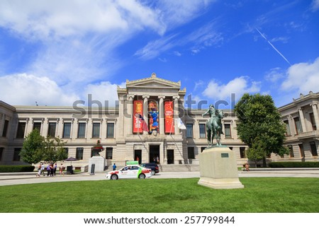 Boston, MA, USA - August 30, 2013: Museum of Fine Arts, Boston: The Museum of Fine Arts in Boston, is one of the largest museums in the United States. It contains more than 450,000 works of art. - stock photo