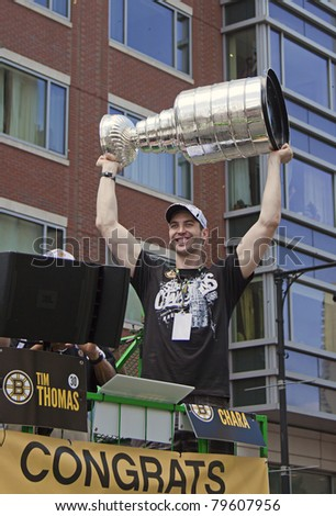 BOSTON, MA, USA - JUNE 18: Zdeno Chara celebrates the Stanley cup victory at the Boston Bruins parade after winning the cup for the first time in 39 years, June 18, 2011 in Boston, MA, United States
