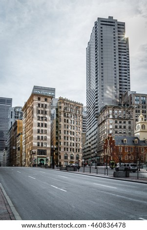 Boston, MA, USA - March 1, 2014: View of Business buildings from the Congress Street