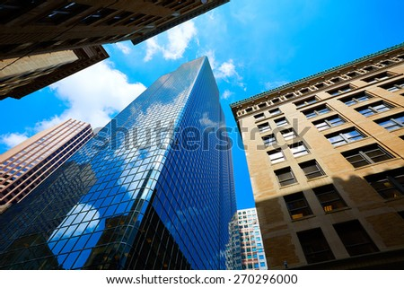 Boston Massachusetts downtown buildings cityscape in USA - stock photo