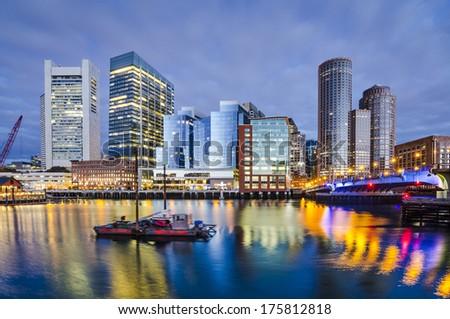 Boston, Massachusetts downtown city skyline. - stock photo