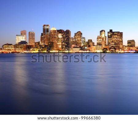 Boston, Massachusetts Financial District Skyline. - stock photo