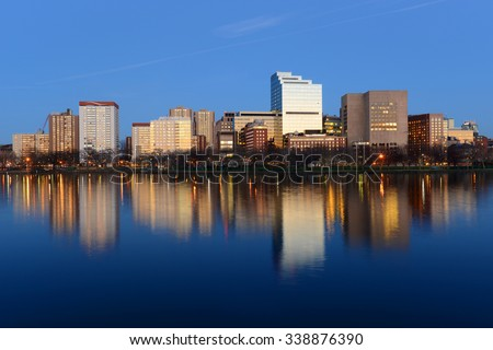 Boston Massachusetts General Hospital and West End Skyline at night, viewed from Cambridge, Boston, Massachusetts, USA - stock photo