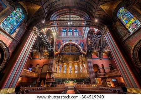 BOSTON, MASSACHUSETTS - JULY 28: Interior of the Trinity Church on July 28, 2015 in Boston, Massachusetts - stock photo