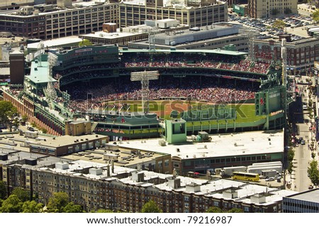 BOSTON, MASSACHUSETTS-JUNE 14:  Aerial view of the Fenway Park Stadium in Boston on June 14, 2011 during an important game of the Red Sox Baseball team. - stock photo