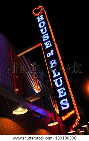 BOSTON, MASSACHUSETTS - MAY 1, 2011: Neon sign of House of Blues, a concert venue and restaurant celebrating Southern Culture and African American music and culture in Boston, MA.  - stock photo