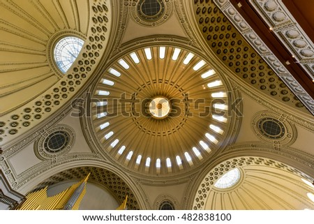 Boston, Massachusetts - Sept 4, 2016: Interior of the First Church of Christ Scientist, the mother church of Christian Science in the Back Bay of Boston, Massachusetts, USA.