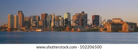 Boston, Massachusetts skyline at sunrise - stock photo
