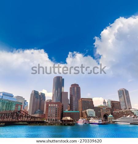 Boston Massachusetts skyline from Fan Pier in USA - stock photo