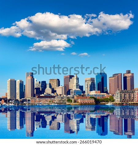 Boston Massachusetts skyline from Harbor in USA - stock photo