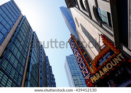Boston, Massachusetts, USA - June 19, 2016: Boston Skyline Showing Paramount Theatre, which  is a Boston theatre located on Washington Street, between Avery and West Streets.