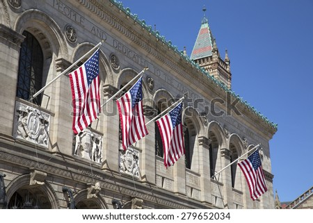 BOSTON,MASSACHUSETTS/USA-MAY 6:US flags in Boston Public Library as on may 6 2015 in Boston, Massachusetts