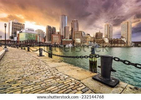 Boston, Massachusetts, USA Skyline at Fan Pier. - stock photo