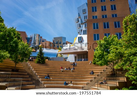 BOSTON - MAY 30: Ray and Maria Stata Center on the campus of MIT May 30, 2014 in Boston, MA. The academic complex was designed by Pritzker Prize-winning architect Frank Gehry. - stock photo