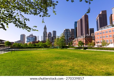 Boston North End Park and skyline in Massachusetts USA