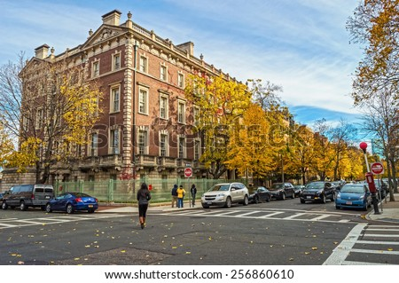 BOSTON-NOVEMBER 9 - The neighborhood around Boston University on  November 9 2013 in Massachusetts - stock photo