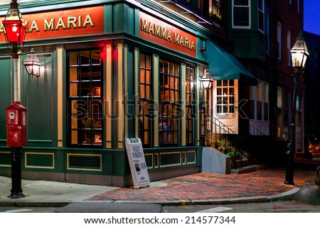 BOSTON-OCT 20, 2011:One of many Italian restaurants in the historic North End, the city's oldest neighborhood settled in the 1630s, called Little Italy for its large population of Italian-Americans. - stock photo