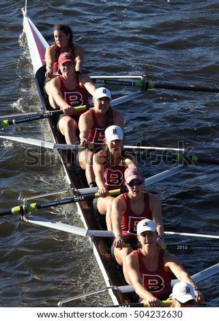 BOSTON - OCTOBER 23, 2016: Bates College races in the Head of Charles Regatta Women's Collegiate Eights [PUBLIC RACE]