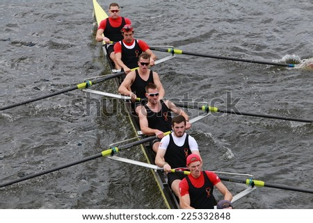 BOSTON - OCTOBER 19, 2014: Boston University races in the Head of Charles Regatta Men's Championship Eights, Craftsbury Sculling Center won with a time of 14:20
