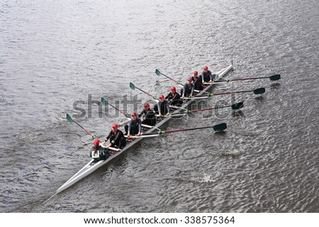 BOSTON - OCTOBER 18, 2015: Branksome races in the Head of Charles Regatta Women's Youth Eights [PUBLIC RACE] - stock photo