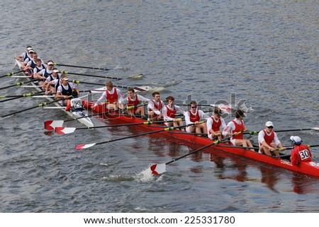 BOSTON - OCTOBER 19, 2014: Brock University(left) and Cornell University crash as they race in the Head of Charles Regatta Men's Championship Eights, Craftsbury Sculling won with a time of 14:20 - stock photo