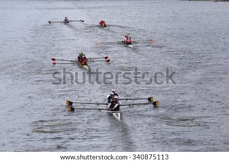 BOSTON - OCTOBER 18, 2015: California, Harvard, Princton, Cornell, Northeastern  races in the Head of Charles Regatta Mens's Championship Fours