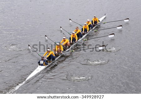 BOSTON - OCTOBER 18, 2015: California races and wins the Head of Charles Regatta Women's Master Eights [PUBLIC RACE]